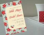 Bridal Shower, Kitchen Tea, Baby Shower or Wedding Favors, Tea Party Invitation - Vintage Red Rose (PDF)
