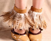Ostrich Leather and Ginger Feather Ankle Cuff by ITSAWONDERFULWALL