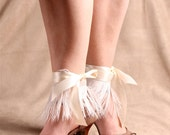 Satin Ribbon and Ostrich Feather Ankle Cuff - White by ITSAWONDERFULWALL