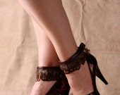Brown Rooster Feather Ankle Cuff - by ITSAWONDERFULWALL
