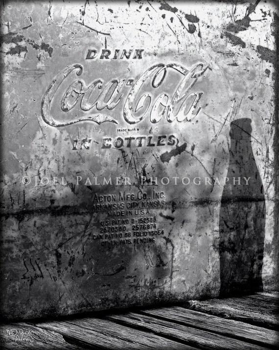 Coca-Cola Bottle Shadow Cast on Old Rusty Antique Coke Cooler Black and White Print Vintage Coca - Cola Photo Art
