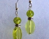 Green Glass Ball Earrings Ready for Summer