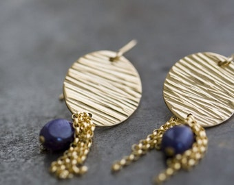 Sapphire Earrings, Blue Sapphire, Natural Sapphire, 14K Gold Filled Disk Earrings - Bohemian Wedding, Raindrops - LIMITED EDITION