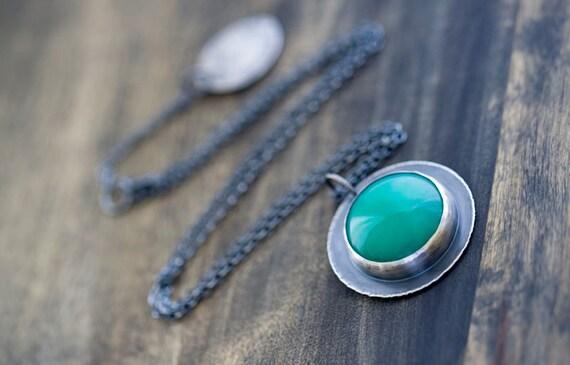Australian Chrysoprase Sterling Silver Necklace - Mystery of Grace