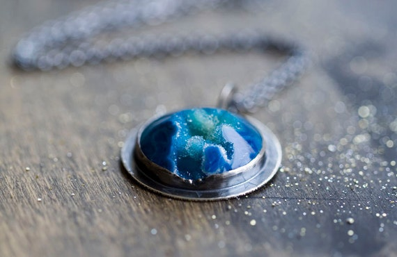 Blue Drusy Sterling Silver Necklace - Cloths of Heaven