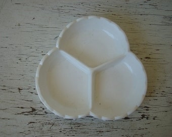Vintage Milk Glass Dish, 3 sections