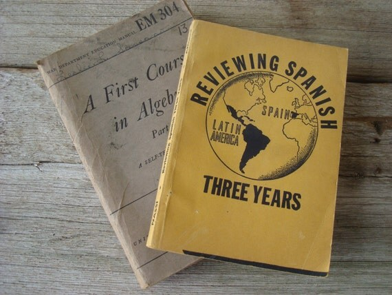 Antique Text Books, Grey and Yellow