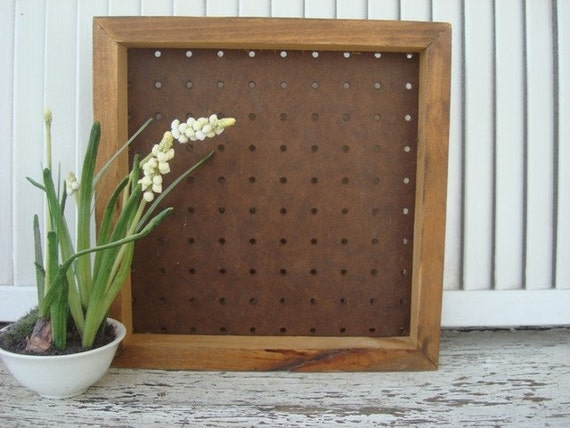 VINTAGE Wooden Peg Board