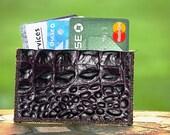 Slim Pocket Wallet or Business Card or Credit Card Holder Handmade in Dark Purple Crocodile Embossed Genuine Leather