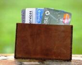 Slim Pocket Wallet or Business Card or Credit Card Holder Handmade in Brown Matte Genuine Leather