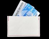 Slim Pocket Wallet or Business Card or Credit Card Holder Handmade in White Genuine Leather
