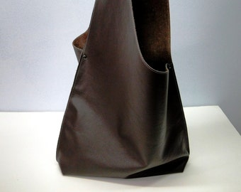 Shoulder Handbag Handmade In Leather - Dark Chocolate Brown Color