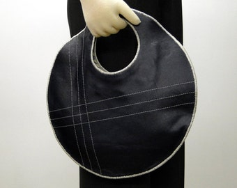 Slim Circle Handbag Handmade In Navy Blue Genuine Leather - Lined With Blue & Cream Striped Linen Fabric