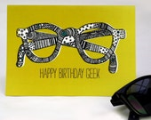 A digitally printed greetings card // happy birthday geek //  one card with white envelope