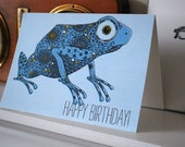 A digitally printed greetings card // little blue frog // birthday card// one card with white envelope