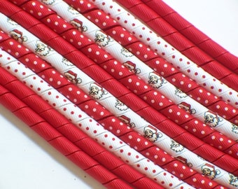 12yds- Santa is in Town -Red and White -Korker Ribbon