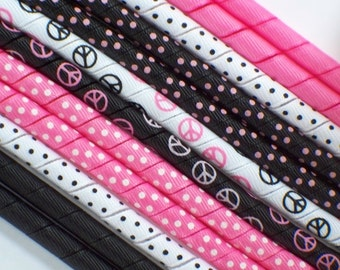 12yds--Peace Signs--Pink and Black---Korker Ribbon