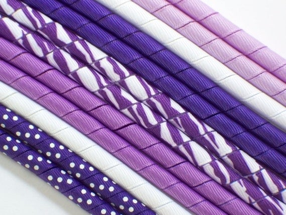 12yds--ZEBRA--Purple and White---Korker Ribbon