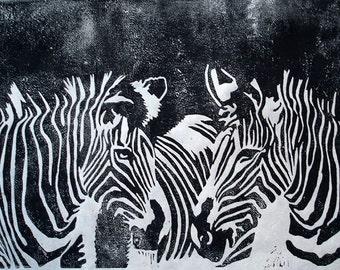 Grevy's Zebra Black & White Original Lino Print