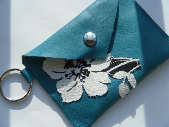 New- Cute Leather Keychain Wallet- Black and White topical flower on MediumAquaMarine leather