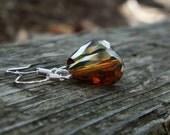 Crystal Copper Teardrop Earrings on Sterling Silver Ear Wires