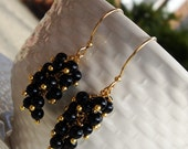 Black & Gold Cluster Earrings