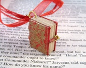 Miniature Book Necklace Gold Embossed Mini Leather Book Charm Red