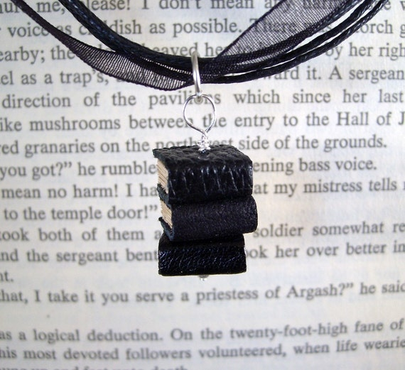 Miniature Book Necklace Stack of 3 Mini Book Necklace Little Black Books