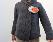 Direct Download PDF Knitting Pattern - Shawl Collar Sweater - Baby Sweater - Toddler Sweater