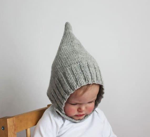 Baby Bonnet - Baby Hat - Pixie Bonnet - Winter Hat Heather Gray - Modern Baby Hat, Toddler Hat, Handknit
