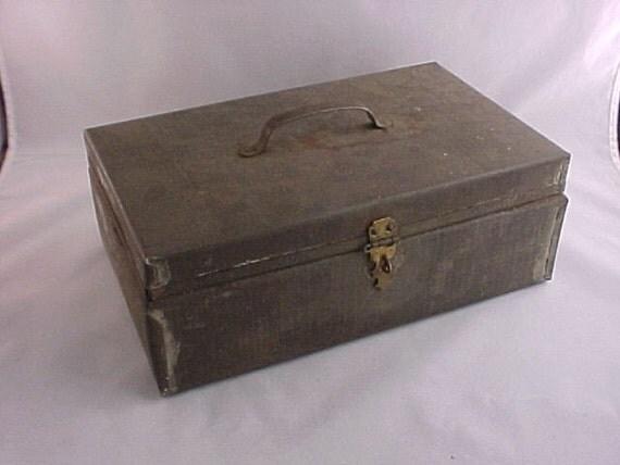 Primitive Handmade Metal Lock Box