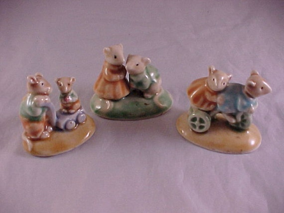 3 Enesco Porcelain Mouse Figurines