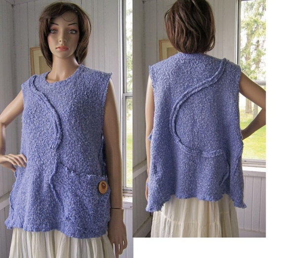 Reconstructed  Vest Tunic Jumper Layering Tank Sweater Cotton Knit Pastel Lavender One Size Up To 2X