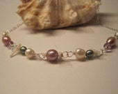 Seychelles Sunrise Necklace - Grade A faceted amethysts, freshwater pearls, sterling silver
