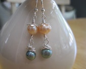 Soft Sandy Afternoon Earrings - freshwater pearls, sterling silver