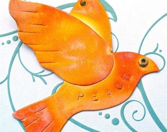 Copper Peace Dove Ornament
