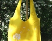 Medium Recycled-Felt Tote, Yellow with White Dandelion