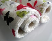 "ORGANIC eco-friendly washcloths - set of 2 in ""Flutter By"" (GOTS certified organic & domestically made) Ready-To-Ship"