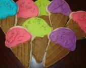Ice Cream Cone cookies - perfect for birthday parties 1 doz