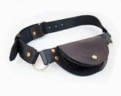 Black pocket belt - rugged leather utilitarian