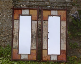Set of two Rustic Maine Birch Bark Mirrors