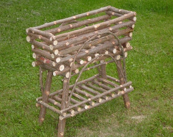 Rustic Cedar Plant Stand Maine Handcrafted. Built for Horizontal Plastic Liners