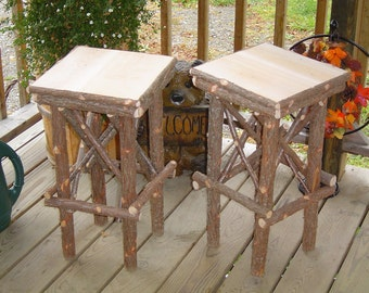 Twig Furniture Rustic Cedar Plant Stands Handcrafted Handmade Log Home Stands Set of Two