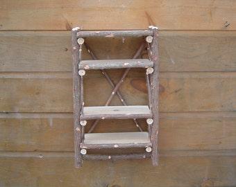 Rustic Cedar Twig Camp Bathroom Wall Shelf Organizer Maine Made Original Design