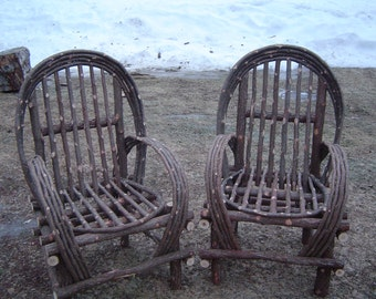 Rustic Cedar Log Cabin Twig Chairs Shipped only in New England