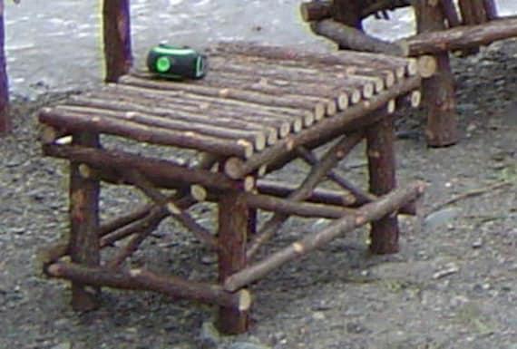 Rustic Cedar Log Cabin Footstool