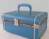 Vintage Blue Train Case Luggage Suitcase Storage