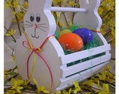 Wooden Easter Bunny Basket Handmade to Order, Painted White & Decorated, Last day to order - April 5, 2017