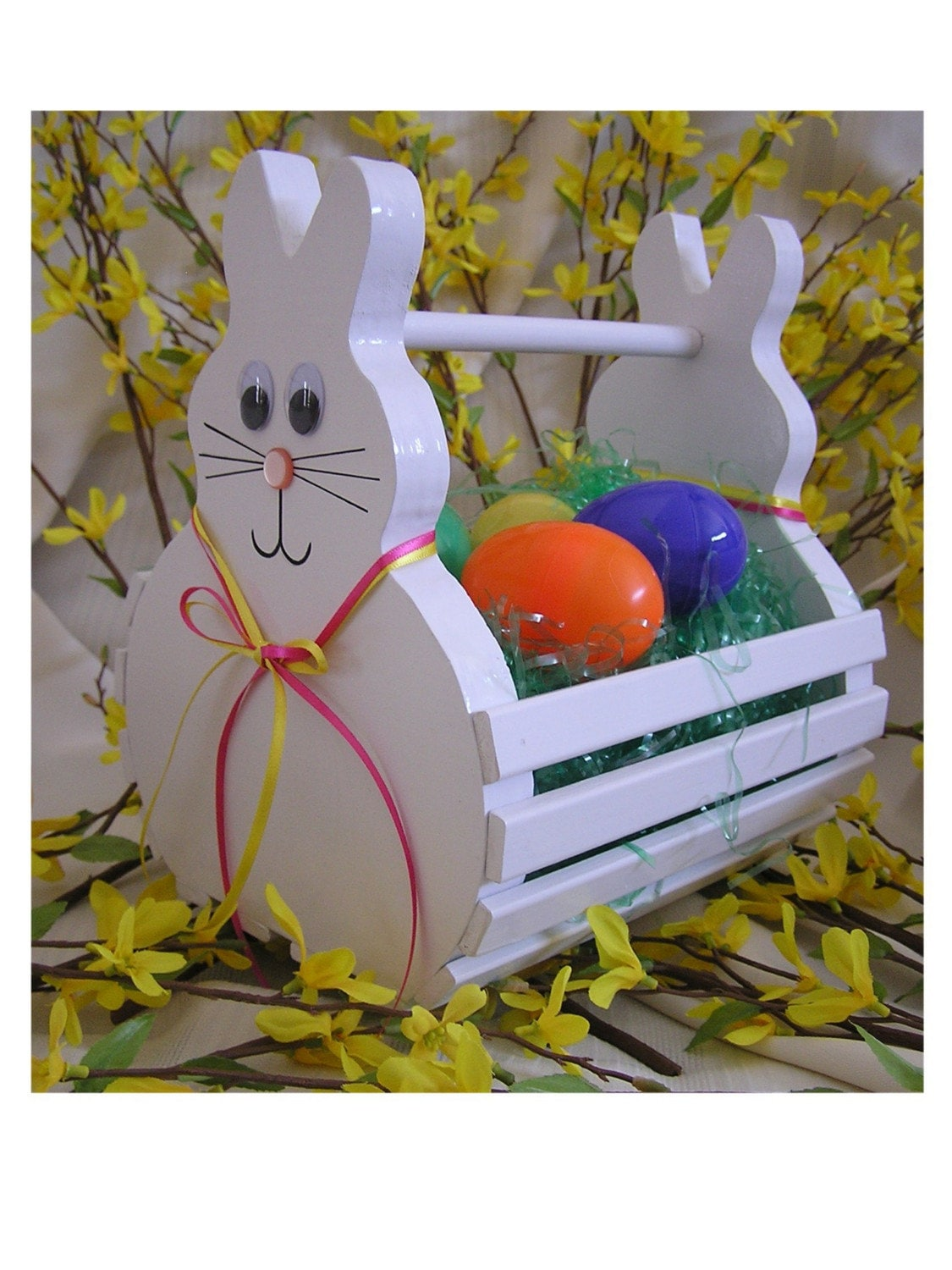 Handmade Wooden Easter Baskets : Wooden easter bunny basket handmade to order painted white