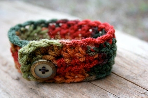 SALE Autumn Leaves Crochet Wrist Cuff